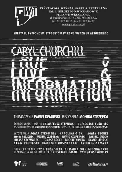 Love & Information - premiera PWST filia Wrocław