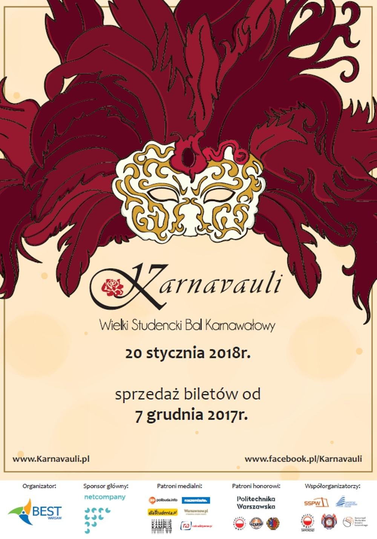 Wielki Studencki Bal Karnawałowy odbędzie się 20 stycznia 2018 roku.