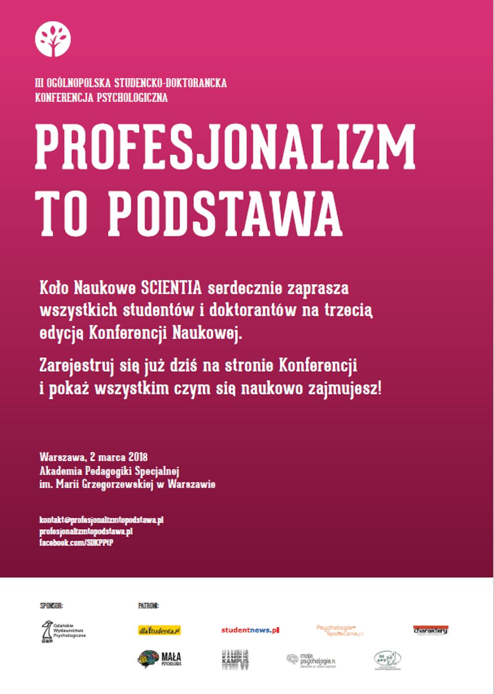 Konferencja odbędzie się 2 marca 2018 roku.
