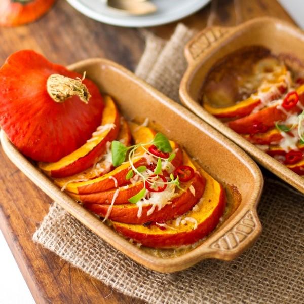 Pieczona dynia z ��tym serem i papryczk� chili - pieczona dynia z serem ��tym i papryk� przepis przepisy z dyni halloween
