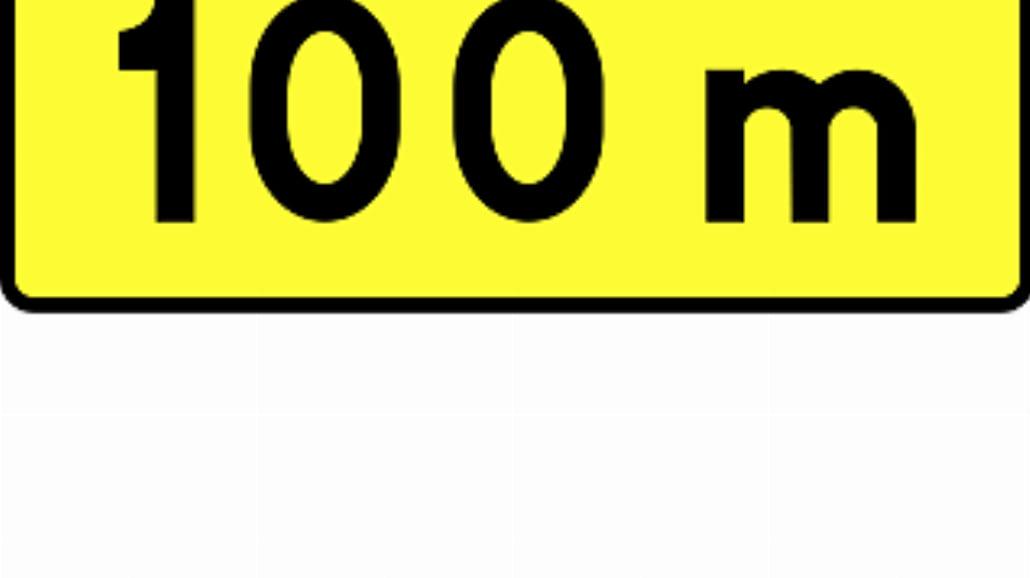 """T-1 """"tabliczka wskazująca odległość znaku ostrzega"""