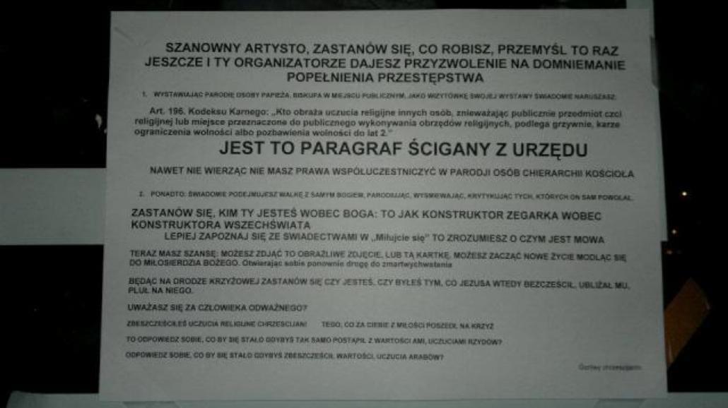 Warszawa: Galeria obraża uczucia religijne?