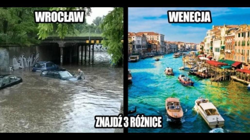 Zalany Wrocław, internauci się śmieją [MEMY]