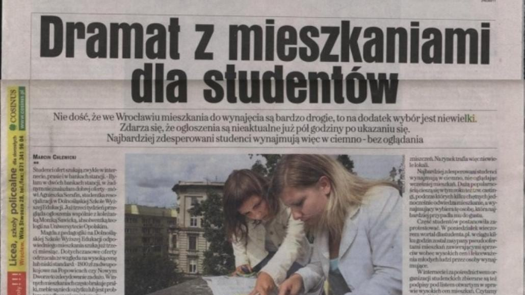 Publikacje o proteście Studentów w prasie i internecie
