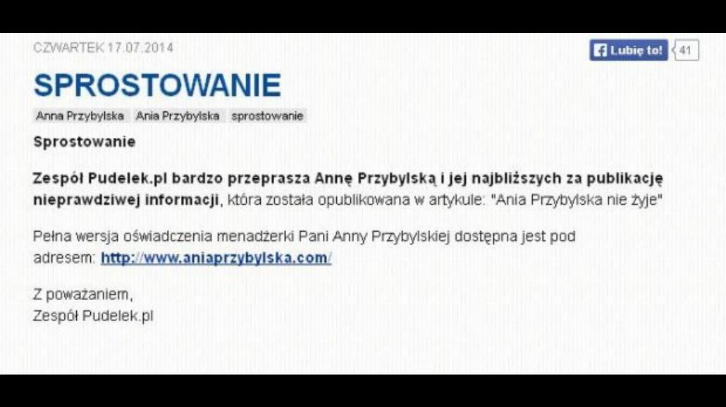 Anna Przybylska nie żyje? Wpadka Pudelek.pl