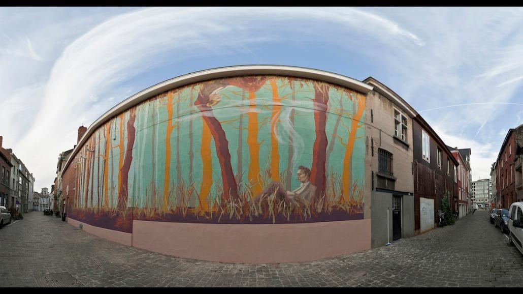 Mural Polki na ścianie klubu w centrum Gandawy w Belgii