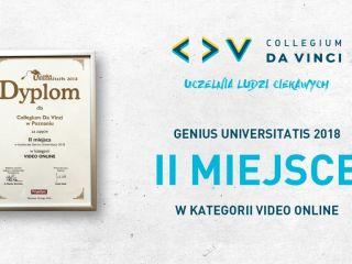Sukces CDV w konkursie Genius Universitatis 2018 - nagroda, II miejsce, film, premiera, popularność