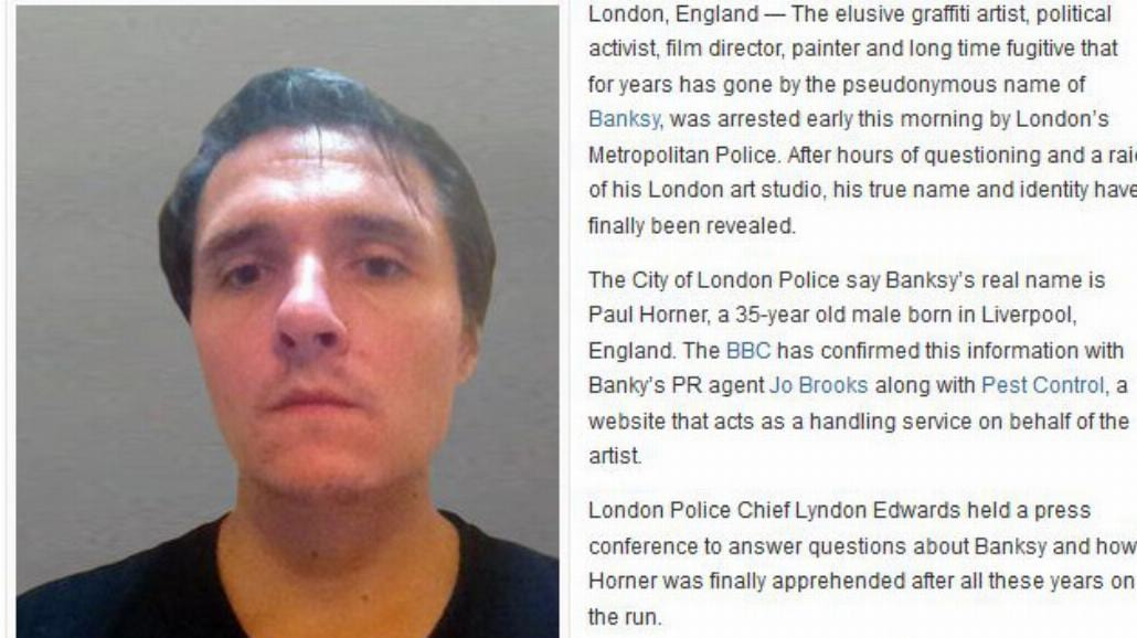 Banksy aresztowany i zdemaskowany? To ściema
