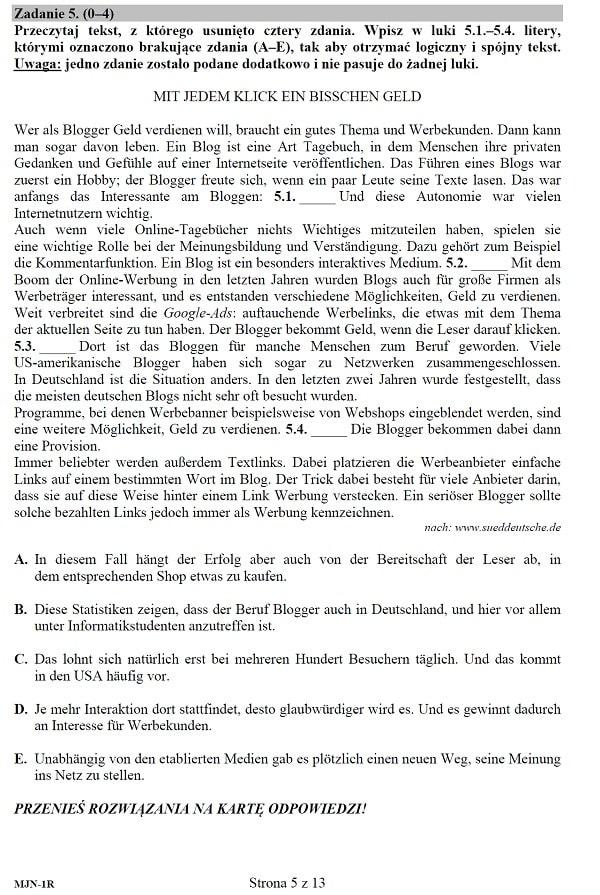 Próbna matura 2020 - arkusz CKE - j. niemiecki rozszerzony