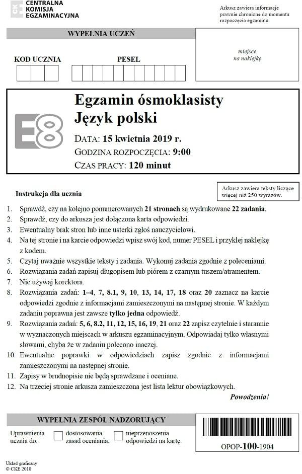 Egzamin ósmoklasisty 2019 - język polski s. 1