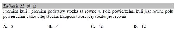 Matura podstawowa z matematyki 2019 zad. 22