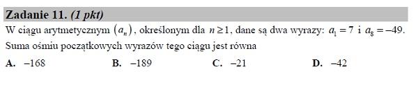 Matura podstawowa z matematyki 2019 zad. 11