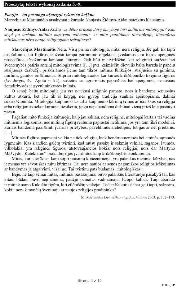 Próbna matura 2020 - arkusz CKE - j. litewski podstawowy