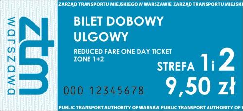 Niebieski Bilet Dobowy Ulgowy Obowizujcy W 1 I 2 Strefie