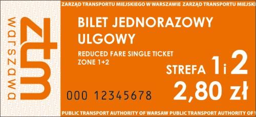 Pomaraczowy Bilet Jednorazowy Ulgowy Obowizujcy W 1 I 2