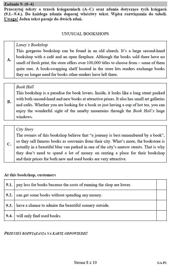 Egzamin gimnazjalny 2019 - j. angielski podstawowy s. 8