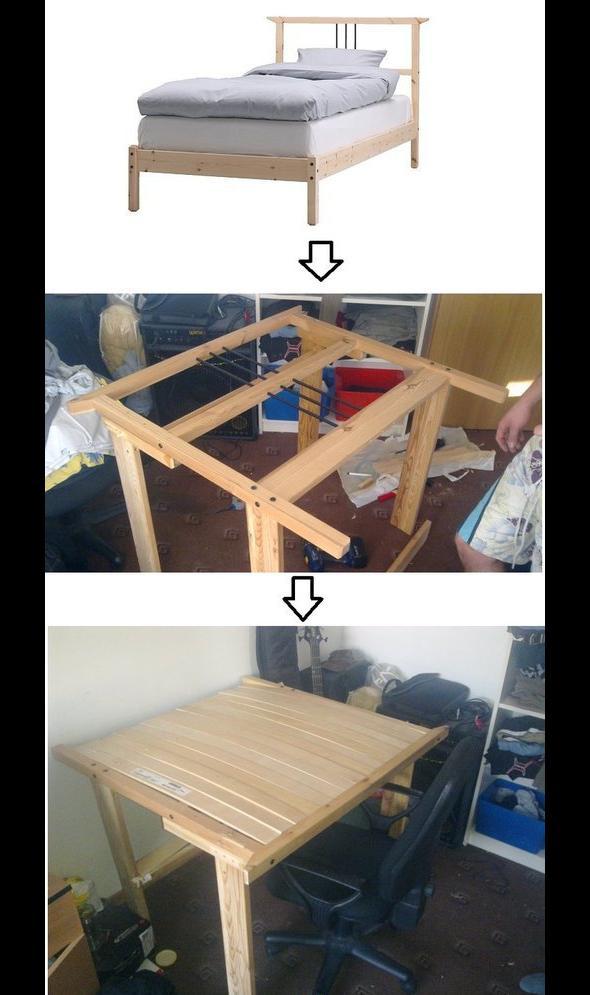 Co prawda miało być łóżko, ale stolik bardziej się przyda