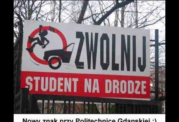 Nowy znak przy Politechnice Gdańskiej