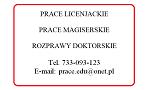 Ogłoszenie - Prace licencjackie, magisterskie, doktorskie - Łódź