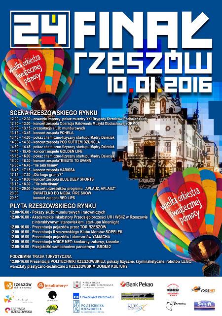 24. Finał WOŚP 2016 w Rzeszowie - program
