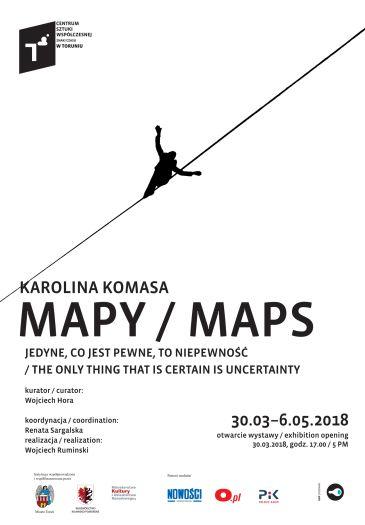 """Wystawa Karoliny Komasy """"Mapy. Jedyne, co jest pewne, to pewność"""""""
