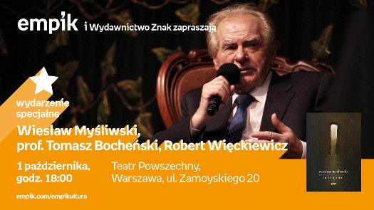Wiesław Myśliwski, prof. Tomasz Bocheński, Robert Więckiewicz - spotkanie