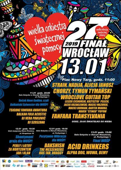 27. Finał WOŚP 2019 we Wrocławiu - program