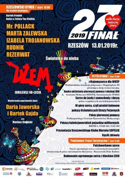 27. Finał WOŚP 2019 w Rzeszowie - program