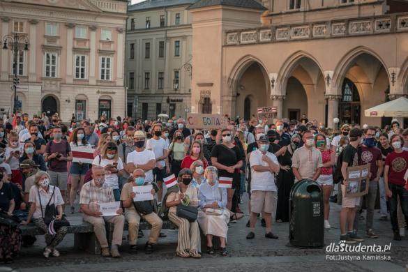 Akcja solidarności z Białorusią - manifestacja w Krakowie