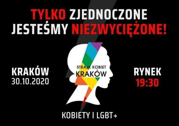 Strajk Kobiet: Tylko zjednoczone jesteśmy niezwyciężone - manifestacja w Krakowie