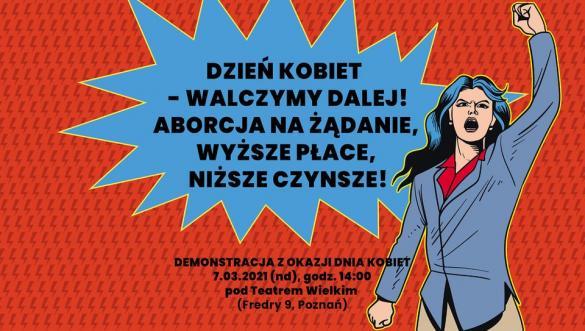 Demonstracja z okazji Dnia Kobiet w Poznaniu