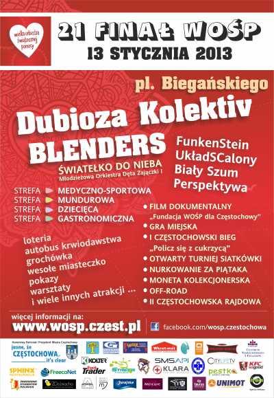 21. Finał WOŚP 2013 w Częstochowie - program