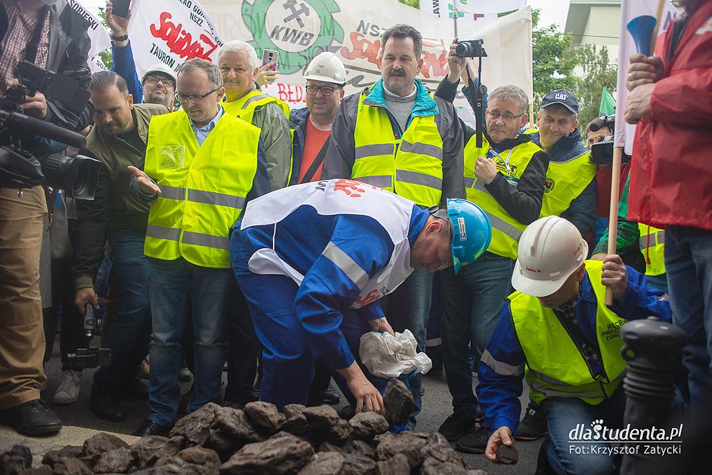 Manifestacja górników we Wrocławiu