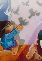 Obrazy młodych artystów w Salonie Wystawowym Marchand