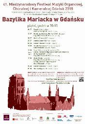 41. Międzynarodowy Festiwal Muzyki Organowej, Chóralnej i Kameralnej Gdańsk 2018