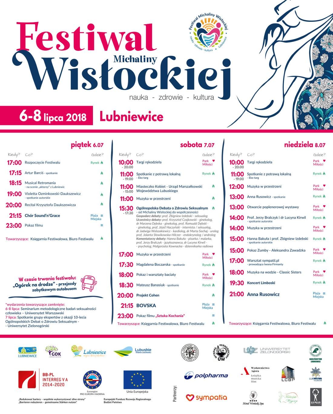Festiwal Michaliny Wisłockiej odbędzie się w dniach 6-8 lipca 2018 roku.