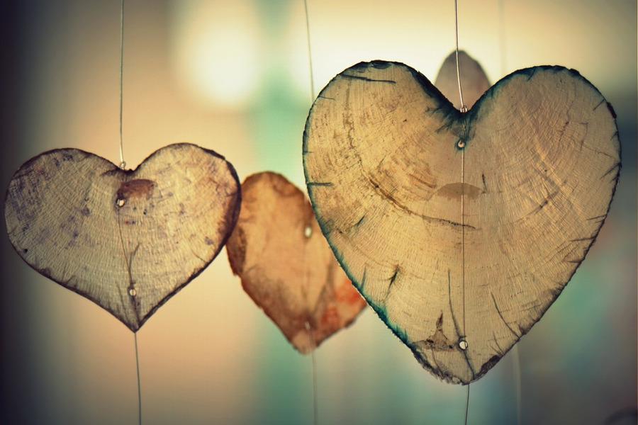 drewniane serca