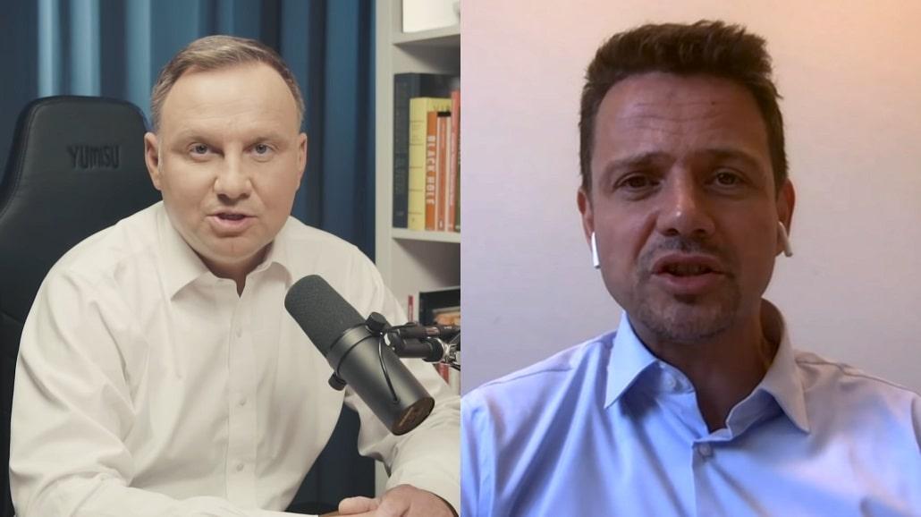 Andrzej Duda i Rafał Trzaskowski w rozmowach z Karolem Paciorkiem (Kolaż kadrów)