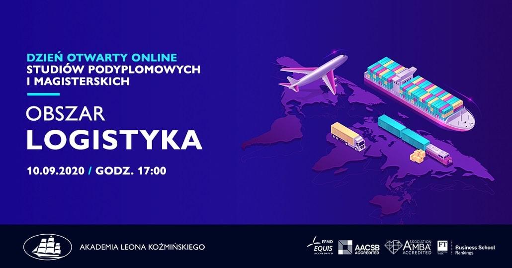 Baner informujący o dniu otwartym online w ALK kierunku Logistyka