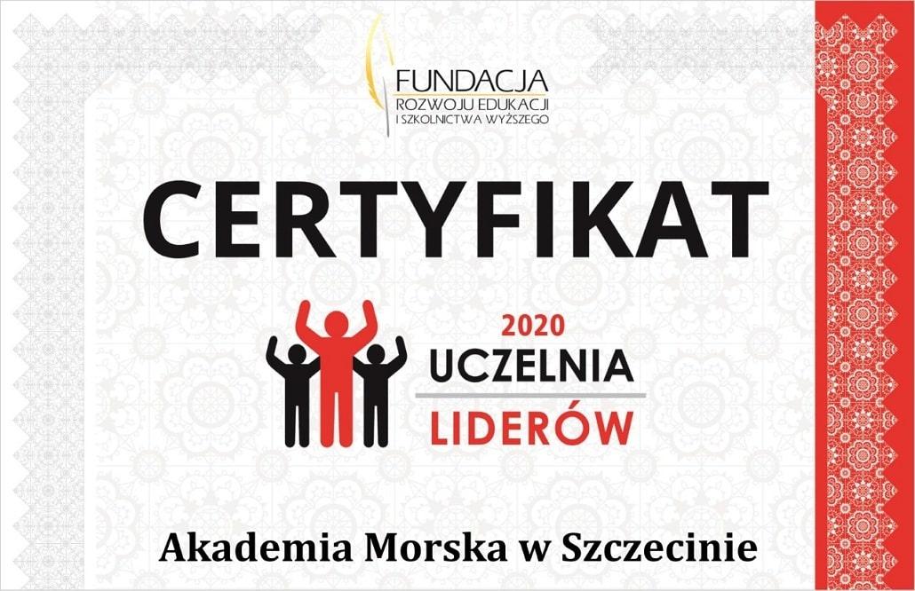 Informacja o certyfikacie Uczelnia Liderów dla Akademi Morskiej w Szczecinie