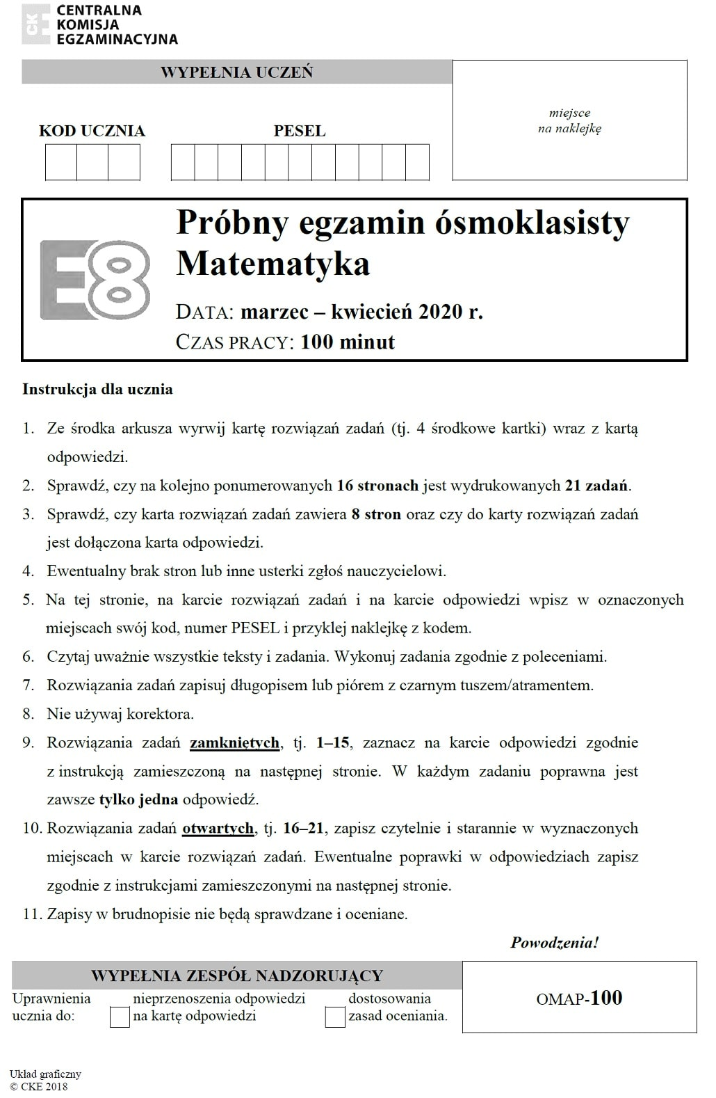 Pierwsza strona arkusza egzaminu z matematyki próbny ósmoklasisty 2020