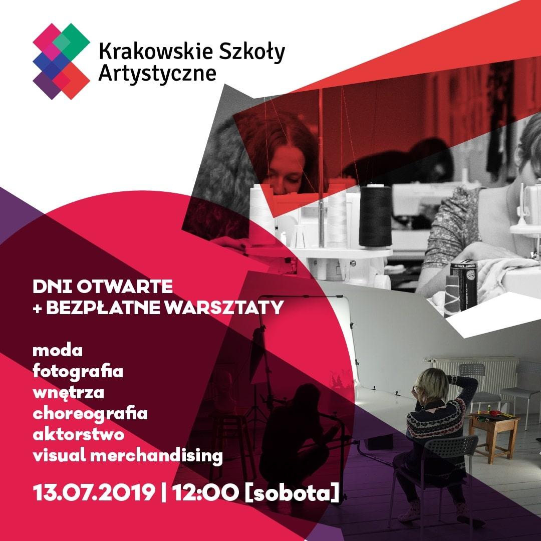 Plakat dni otwartych krakowskich szkół artsytycznych