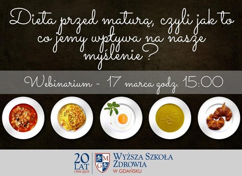 Dieta przed maturą - plakat o webinarze Wyższej Szkoły Zdrowia w Gdańsku
