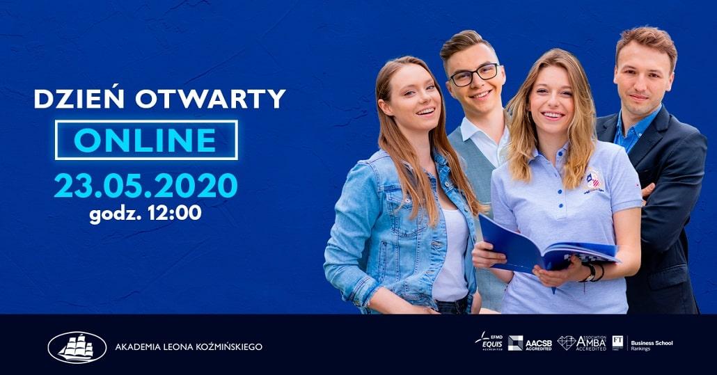 Baner informujący o dniu otwartym w Akademii Leona Koźmińskiego 2020 w Maju
