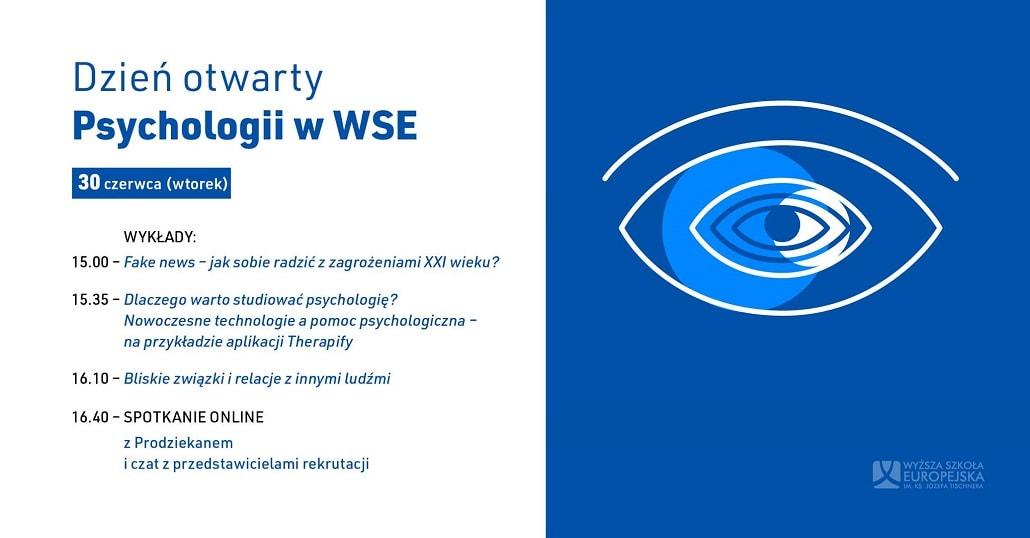 Baner informujący o Dniu Otwartym Psychologii w WSE w Krakowie
