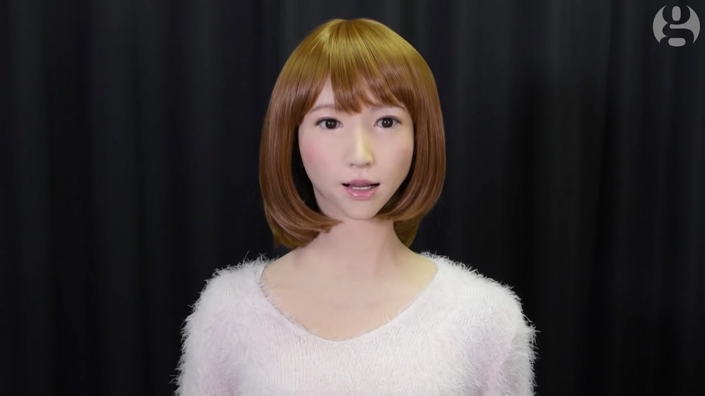 Kadr z wywiadu THe Guardian z robotem Ericą
