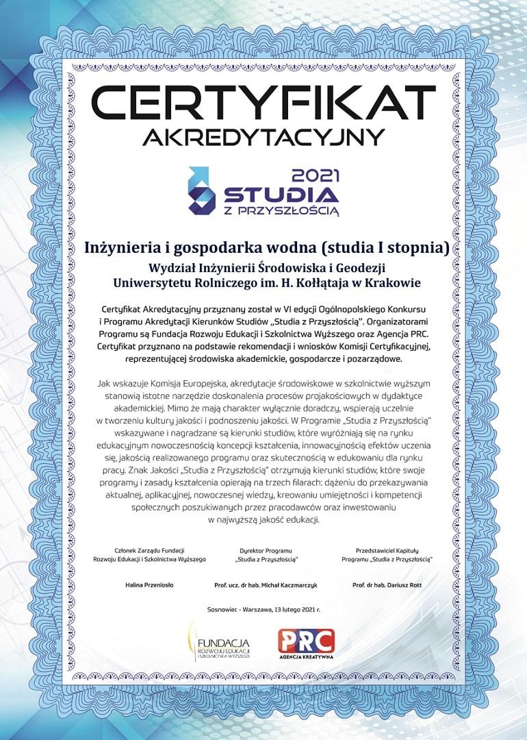 """Certyfikat """"Studia z przyszłością"""" dla kierunku Inżynieria i gospodarka wodna na Uniwersytecie Rolniczym w Krakowie"""