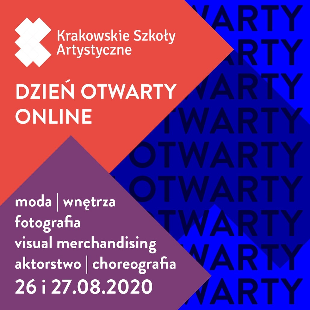 Baner informujący o dniach otwartych Krakowskich Szkół Artystycznych w Sierpniu 2020