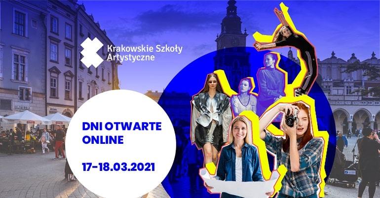 Baner informujący o dniach otwartych w Krakowskich Szkołach Artystycznych w marcu 2021 r.