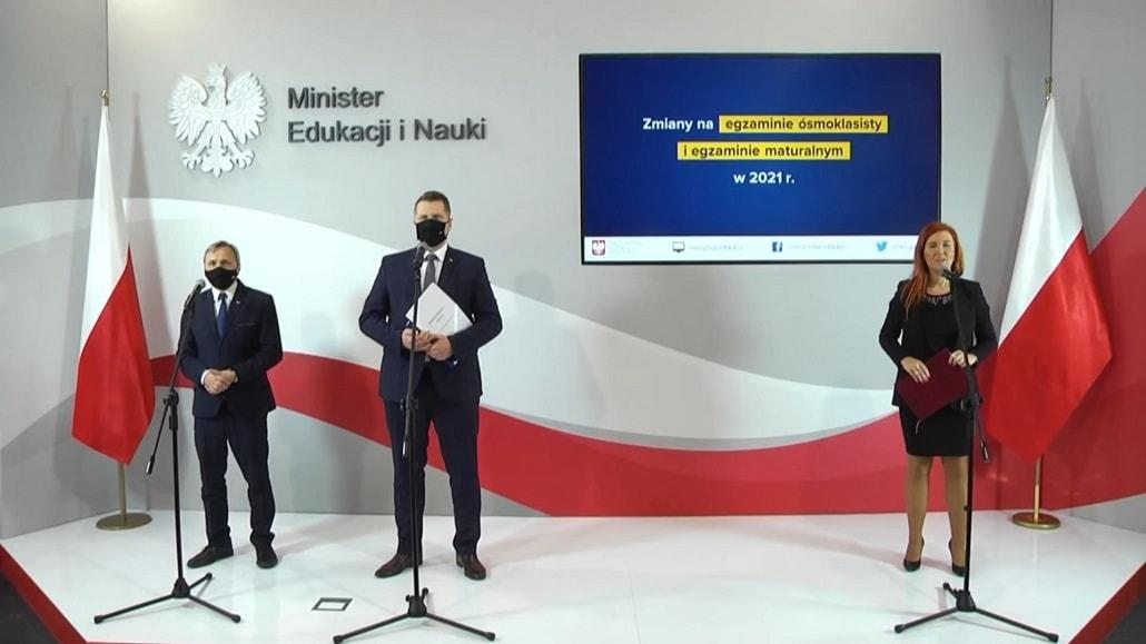 Przemysław Czarnek i Maciej Kopeć na konferencji w listopadzie 2020 r.